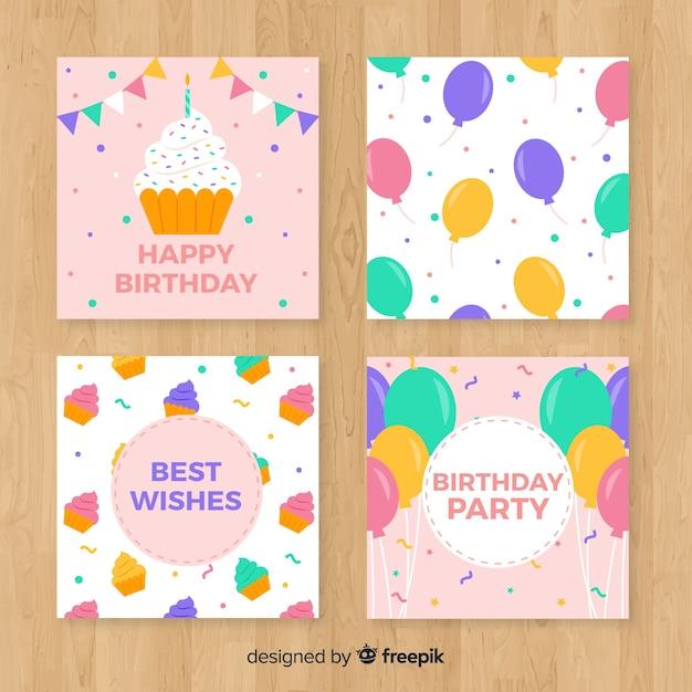 Set de tarjetas de feliz cumpleaños vector gratuito