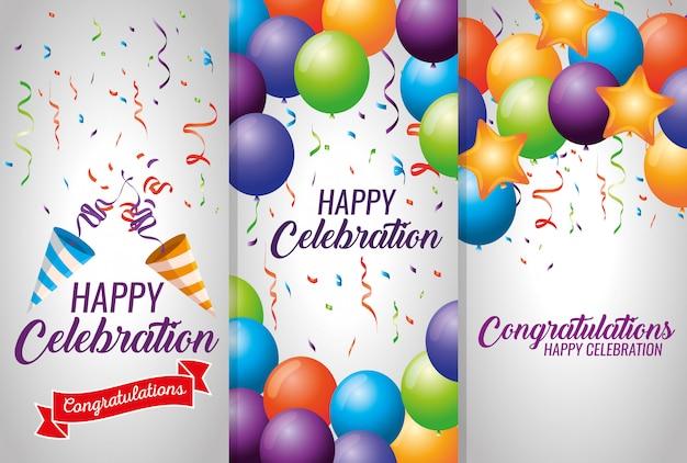 Set tarjetas con globos y decoración de confeti vector gratuito