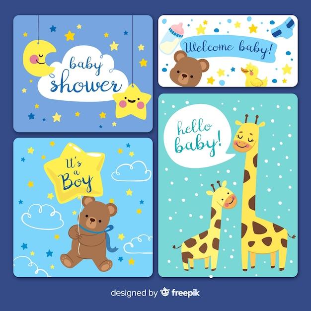 Set de tarjetas de invitación a baby shower Vector Premium