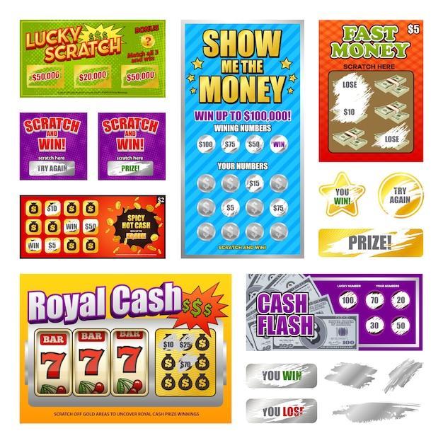 Set de tarjetas de lotería scratch vector gratuito