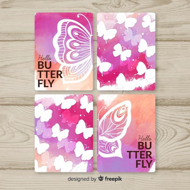 Set de tarjetas de mariposas en acuarela vector gratuito