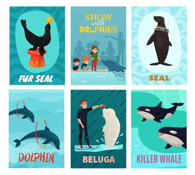 Set de tarjetas de presentación del delfinario vector gratuito
