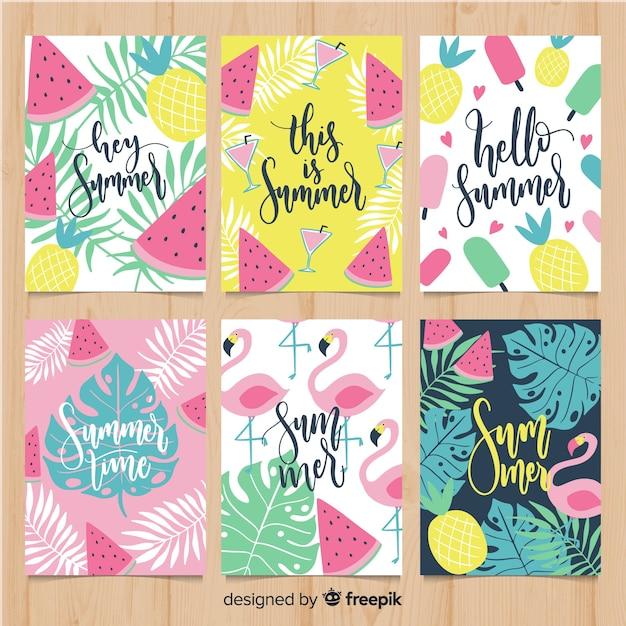 Set de tarjetas de verano vector gratuito