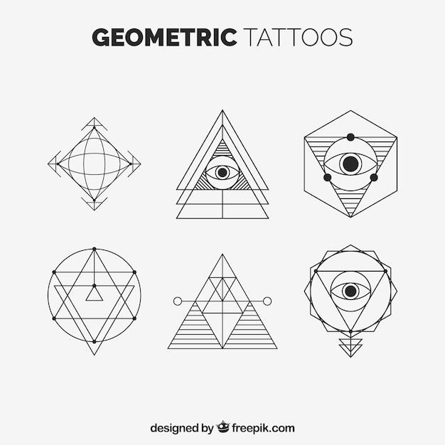 Set de tatuajes geométricos con triángulos vector gratuito