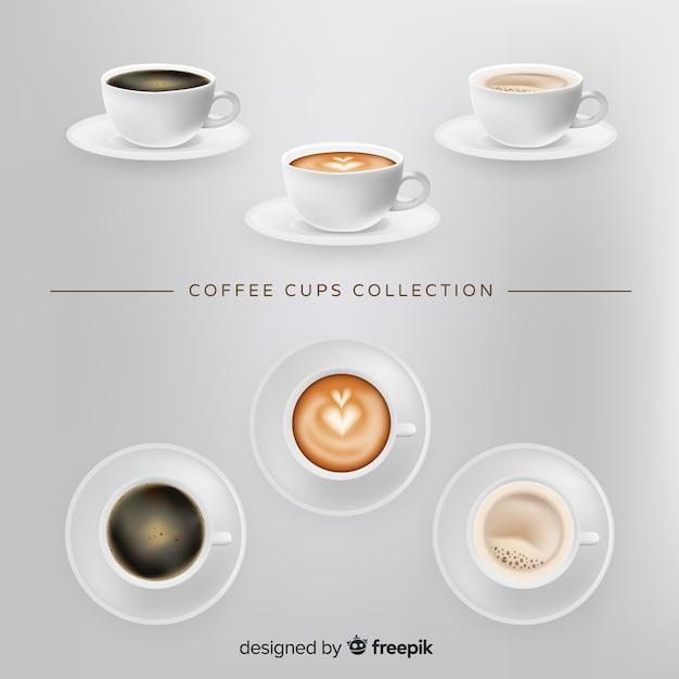 Set de tazas de café vector gratuito