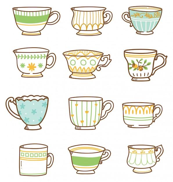 Set de tazas de té vintage dibujadas a mano Vector Premium