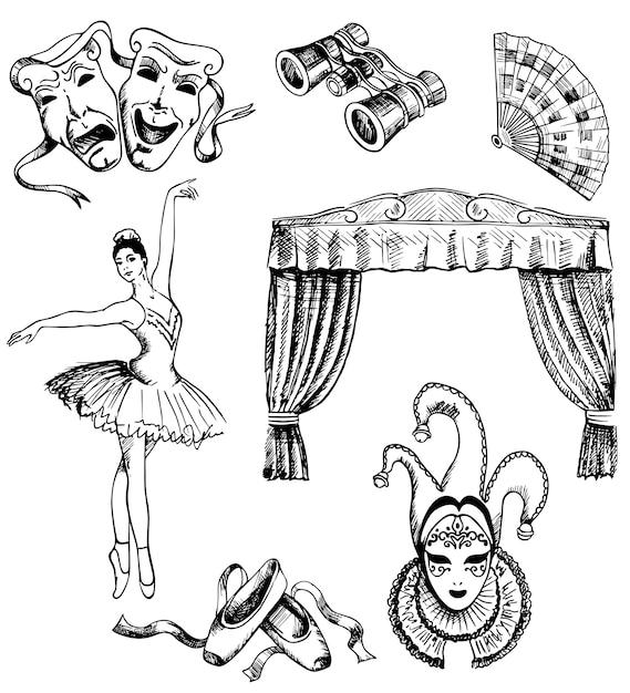 Set de teatro dibujado a mano de tinta Vector Premium