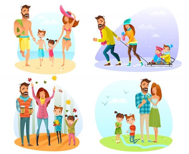 Set de temporada de la familia vector gratuito