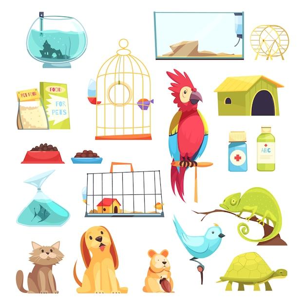 Set de tienda de mascotas vector gratuito