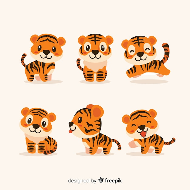 Set de tigres adorables vector gratuito