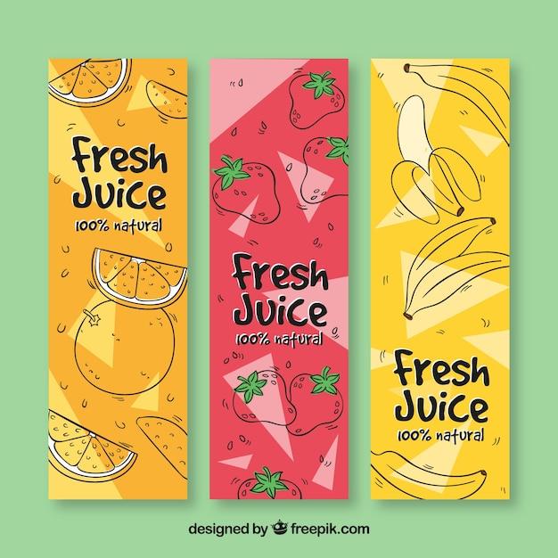 Set de tres banners de frutas dibujadas a mano Vector Premium