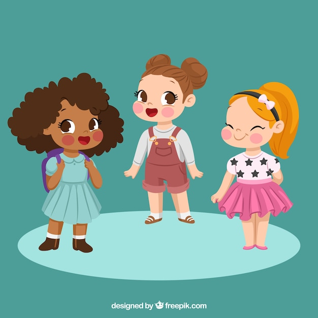 Set de tres niñas felices vector gratuito