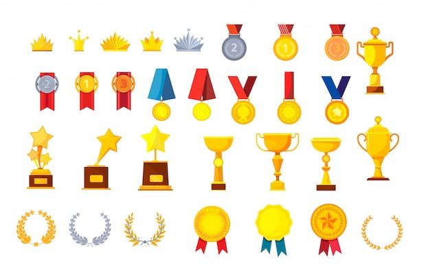 Set de trofeos y premios vector gratuito
