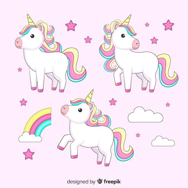 Set de unicornios de estilo kawaii vector gratuito