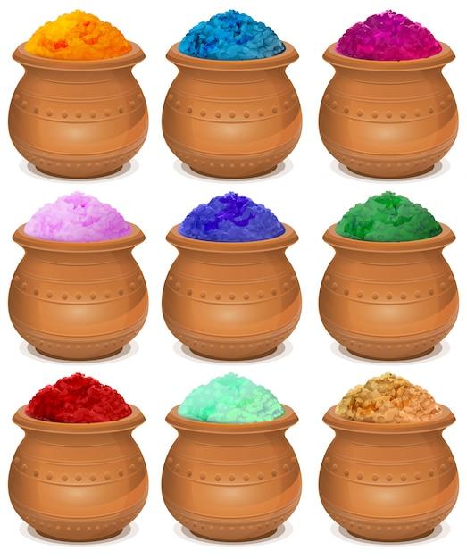 Set vasija de cerámica de pintura holi. festival de colores holi Vector Premium