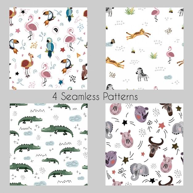 Set - vector patrones sin fisuras con dibujos animados de animales africanos, plantas, aves Vector Premium