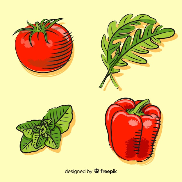 Set de verduras vector gratuito