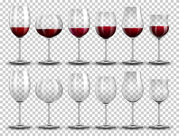 Set de vino en copas diferentes. vector gratuito