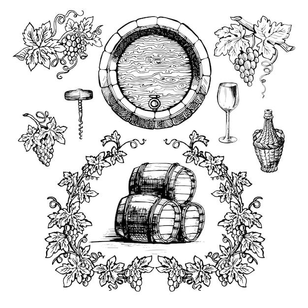Set de vino y vinificación vintage. Vector Premium
