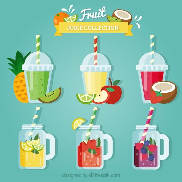 Set de zumos de fruta de colores en diseño plano Vector Premium
