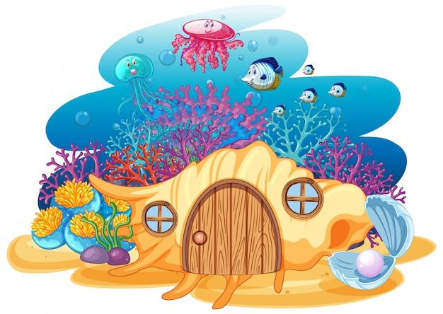 Shell house y sealife en estilo de dibujos animados bajo el agua sobre fondo blanco. vector gratuito