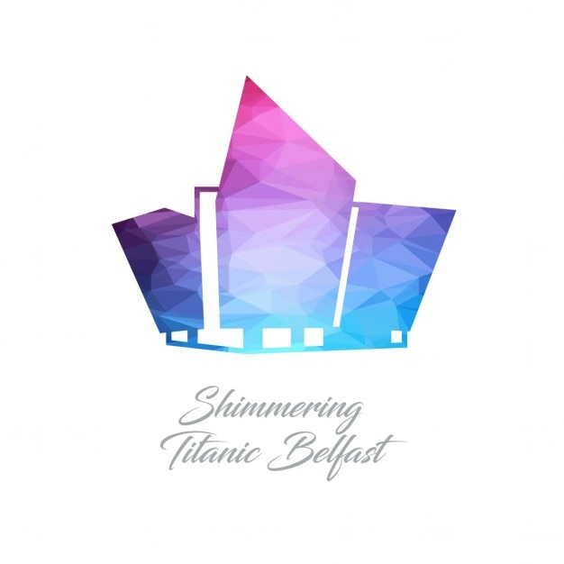 Shimmering titanic belfast, formas poligonales vector gratuito