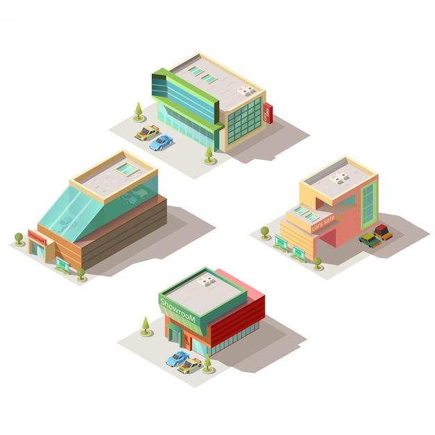 Showrooms de salón de autos construyendo vector isométrico vector gratuito