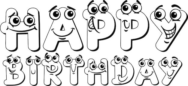 Signo de feliz cumpleaños para colorear página | Descargar Vectores ...