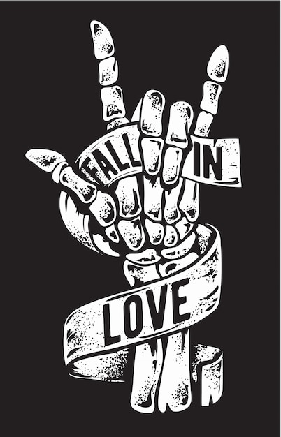 Signo de mano esqueleto con amor cinta ilustración Vector Premium