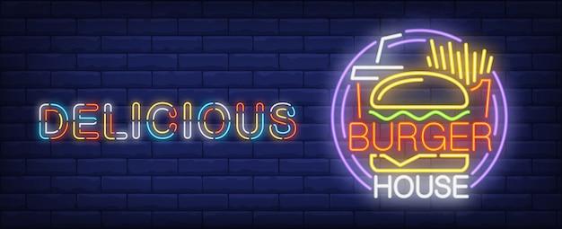 Signo de neón delicioso burger house. papas fritas, coca cola y sabrosa hamburguesa. vector gratuito