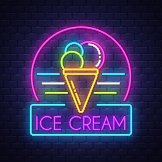 Signo de neón de helado Vector Premium