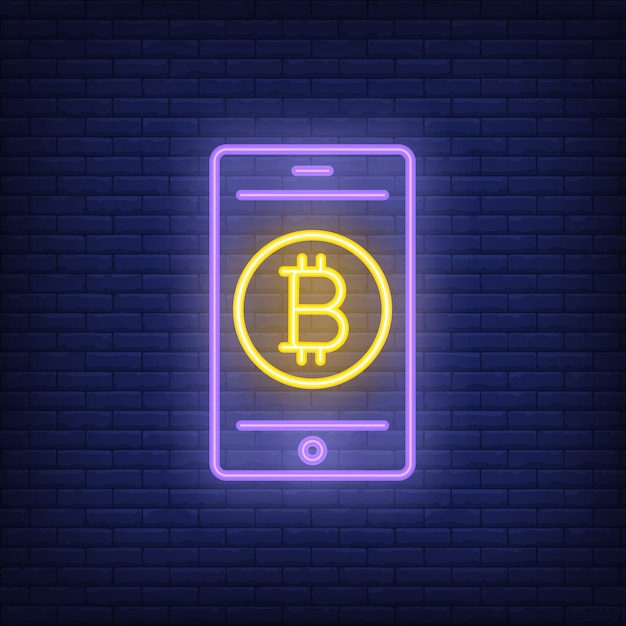 Bitcoin payment neon sign. bitcoin on the smartphone screen. bright night advertisement. free vector