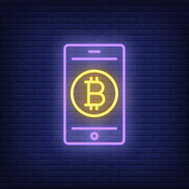 Signo de neón de pago bitcoin. bitcoin en la pantalla del teléfono inteligente. anuncio brillante de la noche. vector gratuito