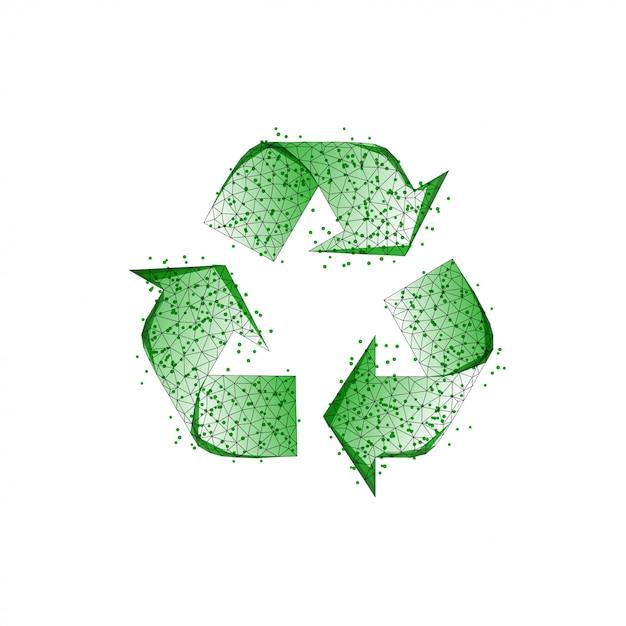 Signo de reciclaje verde hecho de líneas Vector Premium
