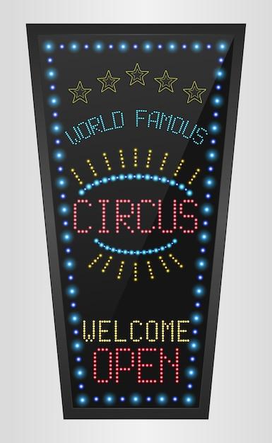 Signo retro con luces azules y la palabra circo Vector Premium