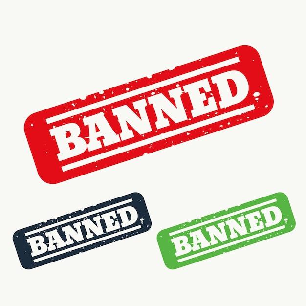 Signo sello banned vector gratuito