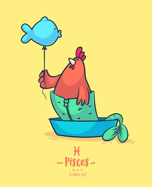 Signo zodiacal piscis. gallo y globo. cartel del fondo de la tarjeta de felicitación del zodiaco. ilustración vectorial signo del horóscopo Vector Premium