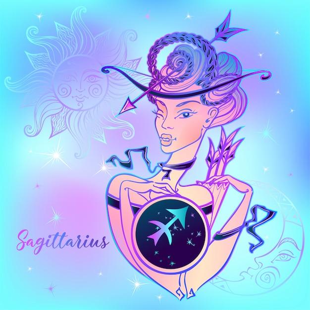 Signo del zodiaco sagitario una hermosa niña. Vector Premium