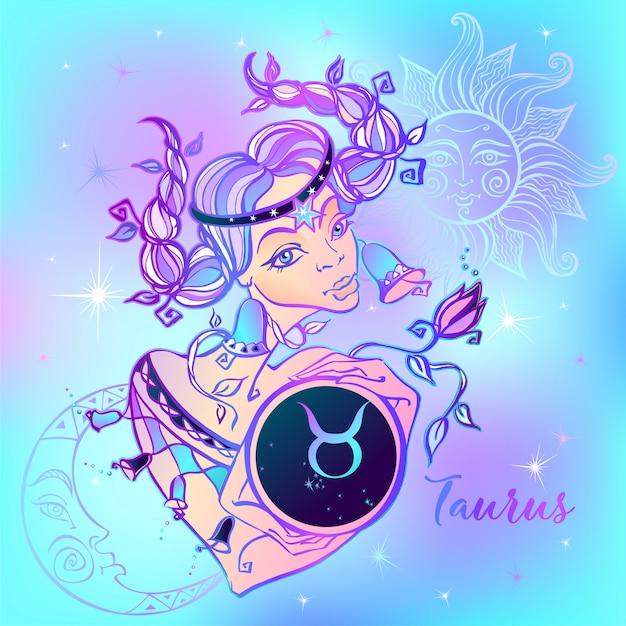 Signo del zodiaco tauro una hermosa niña Vector Premium