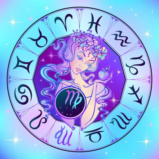 Signo del zodiaco virgo una hermosa niña Vector Premium