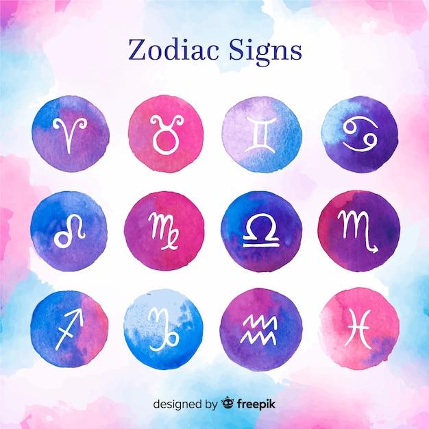 Signos de acuarela zodiacos vector gratuito