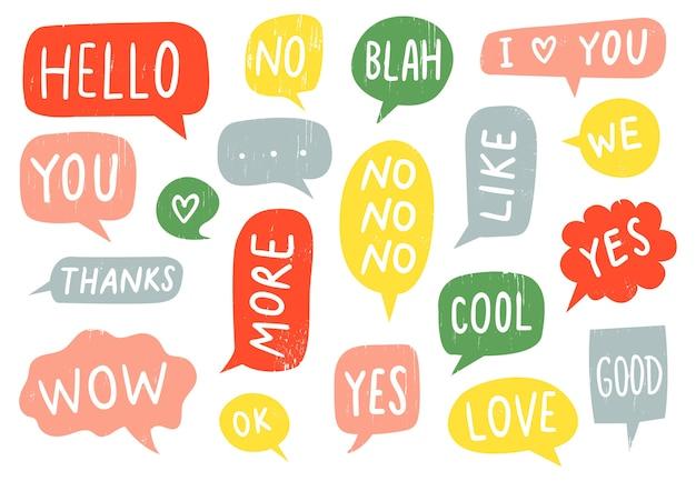 Signos de burbujas de discurso con textura vector gratuito