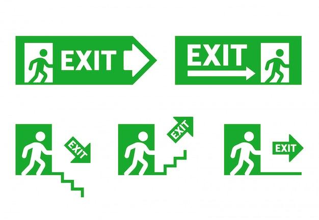 Signos de dirección durante la evacuación. salida de emergencia. corriendo hombre a la puerta. establecer ilustración Vector Premium