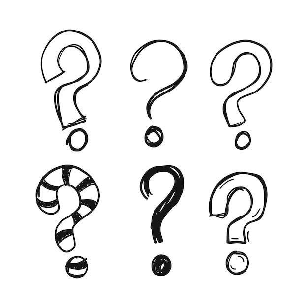 Signos de interrogación dibujados a mano vector gratuito