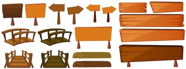 Signos y puentes de madera vector gratuito
