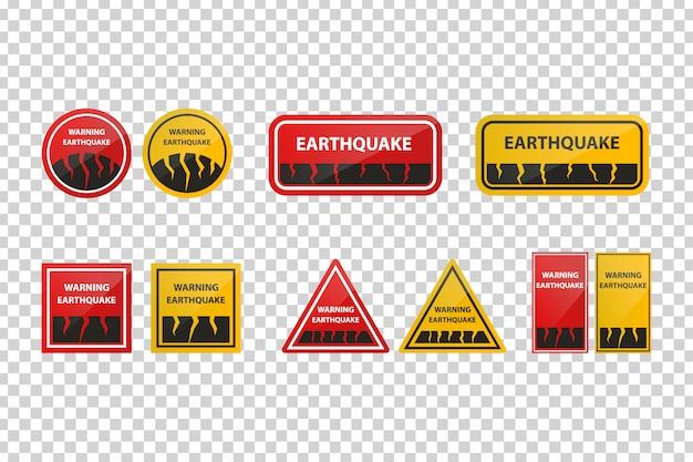 Signos realistas de advertencia de terremoto para la decoración en el fondo transparente. Vector Premium