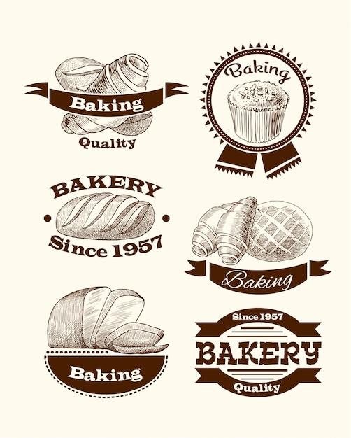 Signos de repostería y pan. vector gratuito