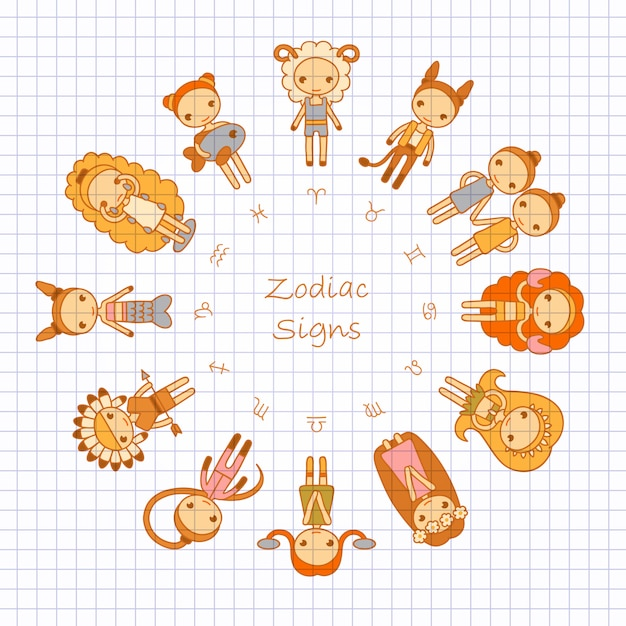 Signos del zodiaco aries, tauro, géminis, cáncer, leo, virgo, libra, escorpio, sagitario, capricornio, acuario, piscis Vector Premium