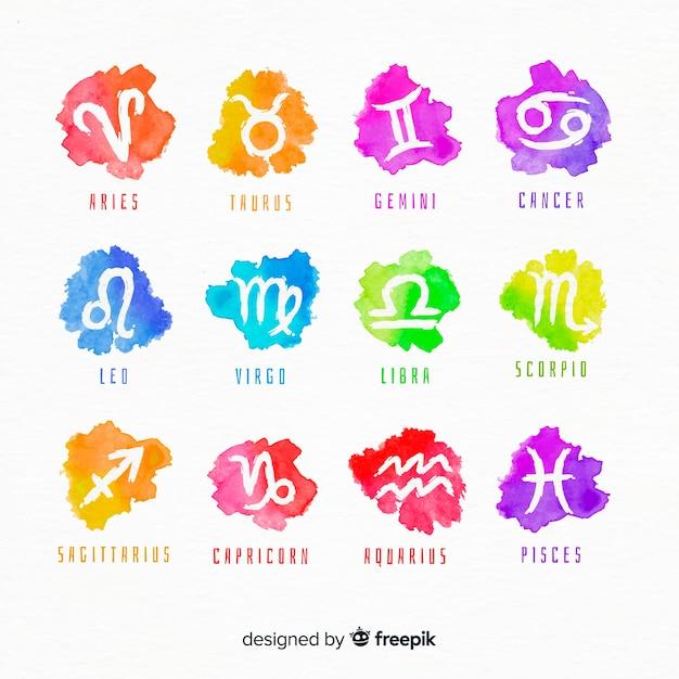 Signos del zodiaco en aucarela vector gratuito
