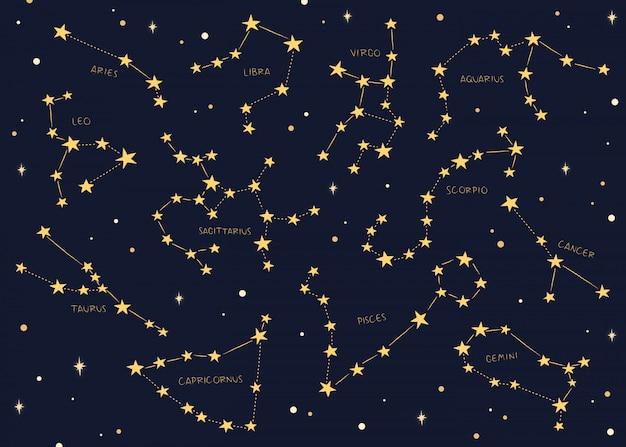 Signos del zodiaco constelaciones de fondo. Vector Premium